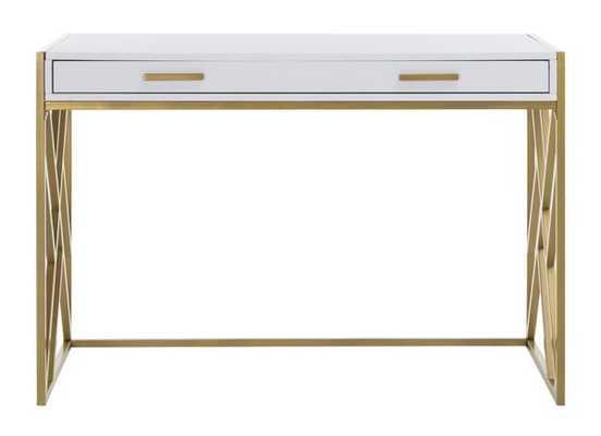 Elaine 2 Drawer Desk - White/Gold - Arlo Home - Arlo Home
