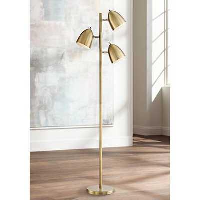 Aaron Aged Brass 3-Light Floor Lamp - Lamps Plus