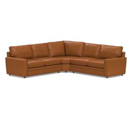 Pearce Square Arm Leather 3-Piece L-Shaped Wedge Sectional, Down Blend Wrapped Cushions, Leather Signature Maple - Pottery Barn