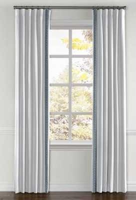 "Convertible Drapery- Split Draw 50"" wide, 84"" long. Classic Linen, White. Greek Key Tape - Sapphire. Privacy Lining - Loom Decor"