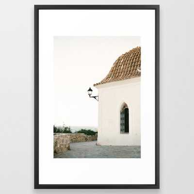 "Travel photography ""Ibiza white"" Framed Art Print // 26"" X 38"" // Vector Black frame - Society6"