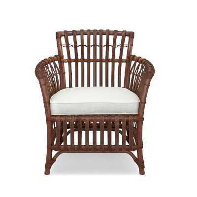 Southampton Armchair, Rattan,White Canvas - Williams Sonoma
