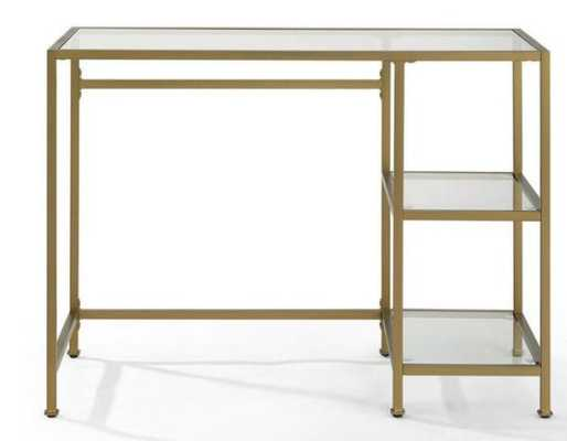 Gold Metal And Glass Milayan Desk With Shelves - World Market/Cost Plus