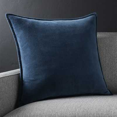 """Brenner Indigo Blue 20"""" Velvet Pillow with Feather-Down Insert. - Crate and Barrel"""