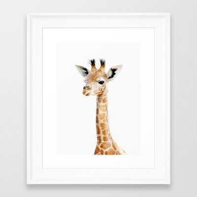 Baby Giraffe Portrait Framed Art Print - Society6