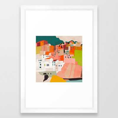 "italy coast houses - 15' x 21"" - vector white - Society6"