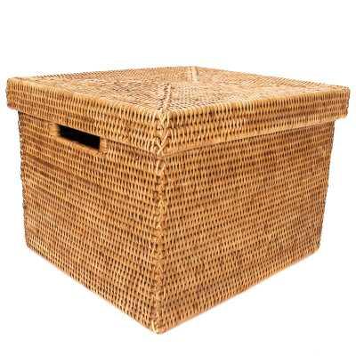 Rattan File Box with Lid and Cutout Handles -Honey Brown - Wayfair