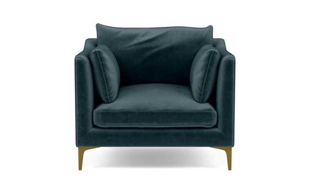CAITLIN BY THE EVERYGIRL Accent Chair, Sapphire Mod Velvet, Brass Plated Sloan L Leg - Interior Define