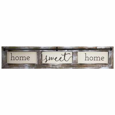 'Home Sweet Home' Wood Framed Canvas Sign Farmhouse Wall Décor - Wayfair