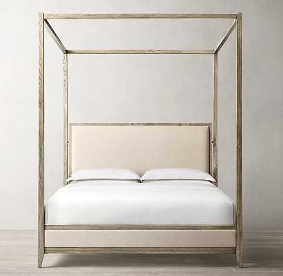 """CAYDEN CAMPAIGN FABRIC CANOPY BED - King, Waxed Grey Oak, 90"""" Canopy Height, Belgian Linen, Sand - RH"""