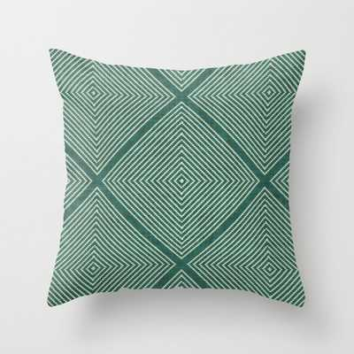 Stitched Diamond Geo Grid in Green Throw Pillow - Society6