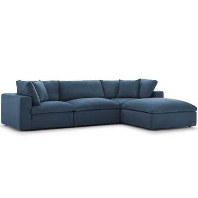 Commix Down Filled Overstuffed 4 Piece Sectional Sofa Set / Azure - Modway Furniture