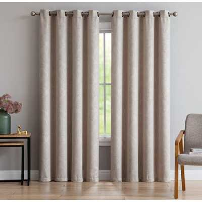 Overbey Embossed Weaved Floral Blackout Thermal Grommet Single Curtain Panel - Wayfair