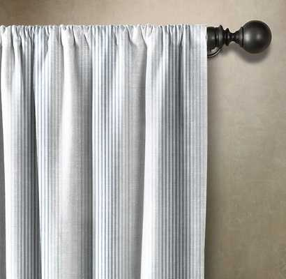 INDIGO THIN STRIPED WINDOW PANEL - Linen & Seam