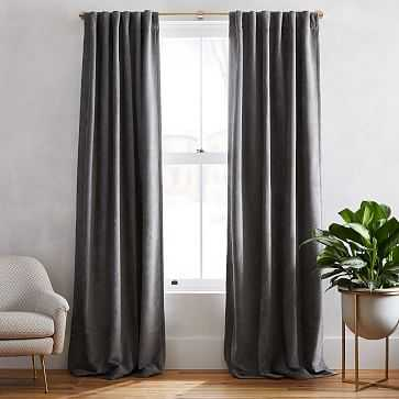 "Textured Upholstery Velvet Curtain, Set of 2, Metal, 48""x96"" - West Elm"
