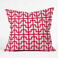 "LATTICE JAGS RED -26"" x 26"" - Insert included - Wander Print Co."