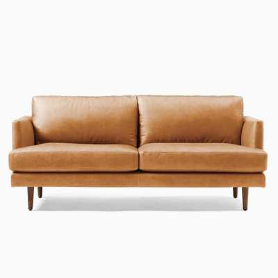 "Haven Loft Sofa 76"" Sofa, Trillium, Vegan Leather, Saddle, Pecan - West Elm"