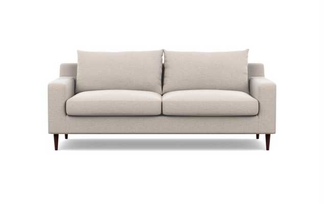 Sloan Sofa in Linen Pebble Weave Fabric with Walnut Tapered Legs - Interior Define