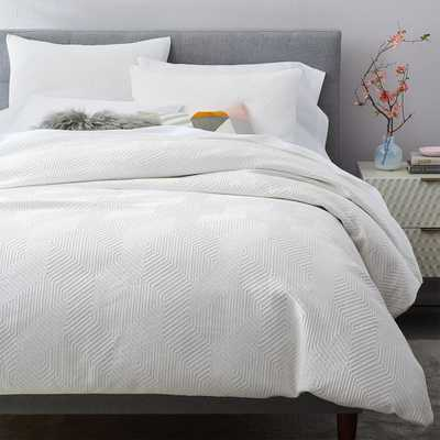 Organic Modern Geo Duvet & King Sham Set, White, King - West Elm
