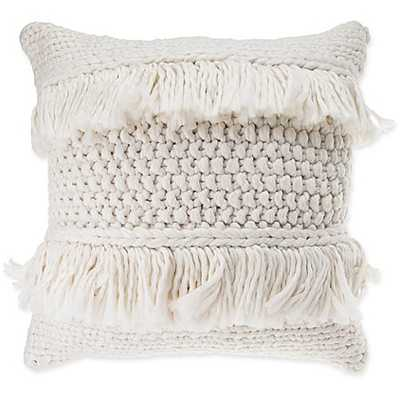 Anthology™ Henley Knit Fringe Square Throw Pillow in Ivory - Bed Bath & Beyond