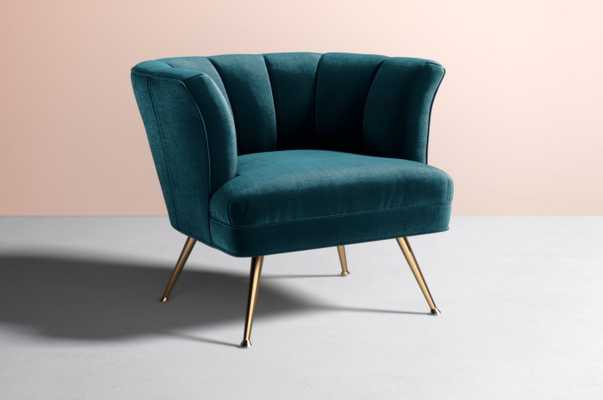 Tulip Chair - Slub Velvet in Cayman / Metal in Brass - Anthropologie