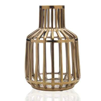 Scott Living Luxe Gold Ceramic Cage Vase, 9-Inch - Wayfair