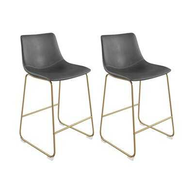 Coleman Bar Stool - Black upholstery/black legs (Set of 2) - Wayfair