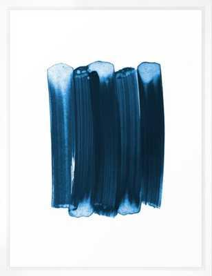 "Indigo Blue Minimalist Abstract Brushstrokes Framed Art Print - vector white frame - medium gallery 20"" x 26"" - Society6"