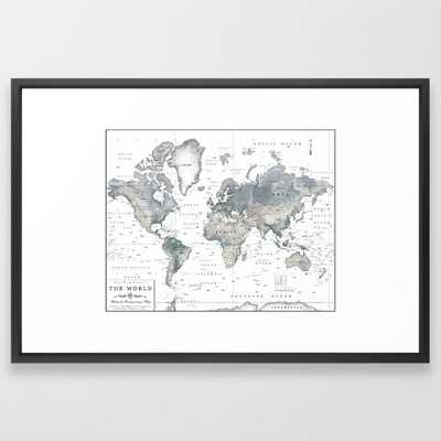 The World [Black and White Relief Map] Framed Art Print - Society6
