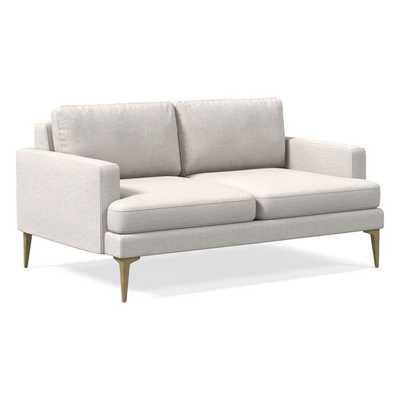 "Andes 60"" Sofa, Stone White, Performance Coastal Linen, Blackened Brass - West Elm"