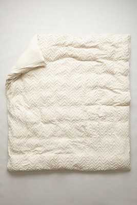 Textured Chevron Duvet Cover in Ivory - King - Anthropologie