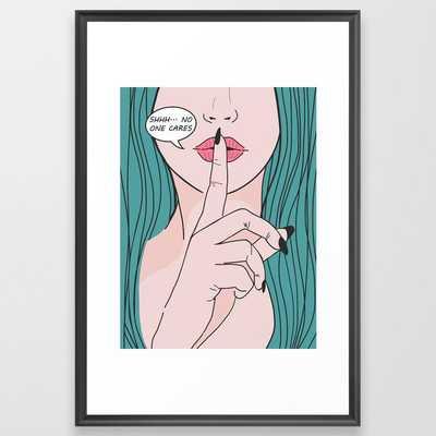 She says Shhh Framed Art Print - Society6