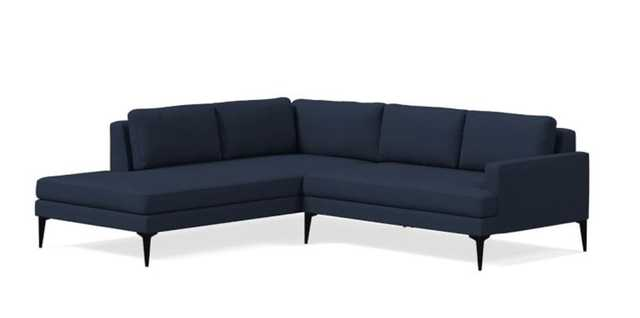 Andes Set 16: Right Arm 2 Seater, Left Arm Terminal Chaise, Twill, Regal Blue, Dark Pewter - West Elm