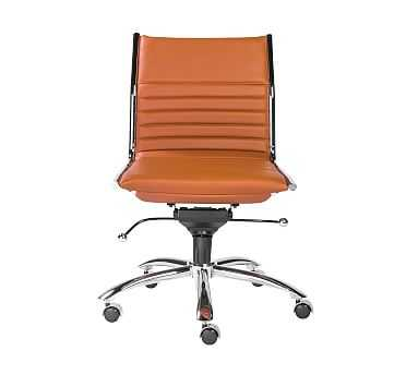 Fowler Armless Desk Chair, Cognac - Pottery Barn