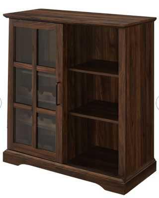 Dark Brown Hartwick Sliding Glass Door Bar with Wine Storage - Wayfair