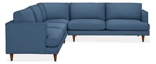 "Campbell Custom Sectional - 110x110"", Sunbrella® Canvas blue, mocha leg - Room & Board"