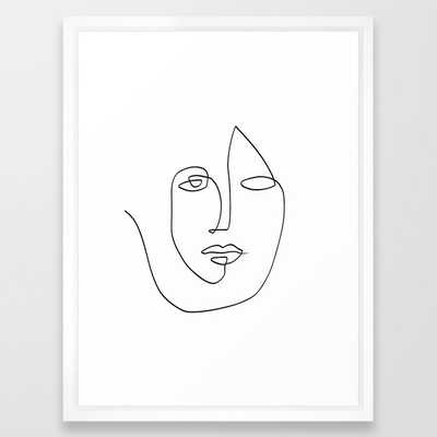 Abstract face One Line Art Framed Art Print - Society6