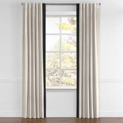 Back Tab Drapery -Classic Linen - Raffia - Leading Edge Border Black- Single Panel Left - Loom Decor