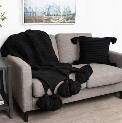August Grove Dorcheer Chunky Ribbed Knit Throw Blanket in Black - Wayfair