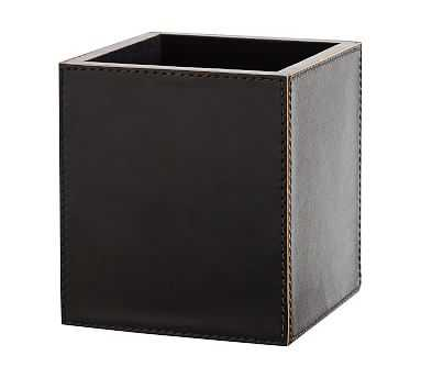 Gia Pencil Cup, Black Leather - Pottery Barn
