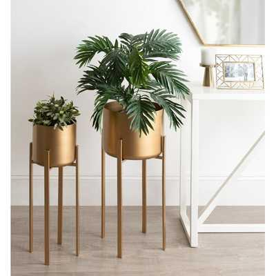 Coates Decorative Indoor 2 Piece Metal Pot Planter Set with Stand - Wayfair