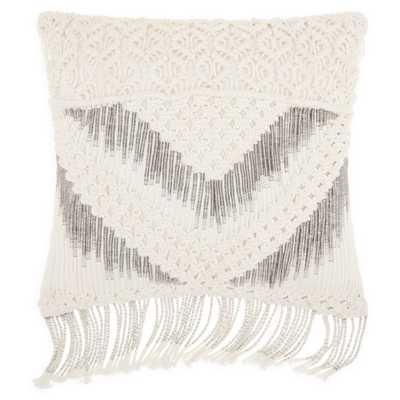 Mina Victory Macrame Chevron Square Throw Pillow in White - Bed Bath & Beyond