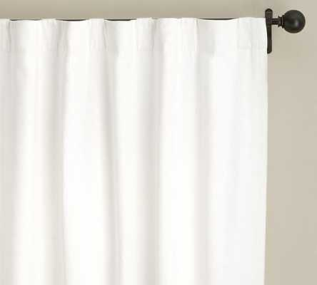 "Emery Linen/Cotton Pole Pocket Drape, 50 x 96"", Single Width, White Blackout - Pottery Barn"