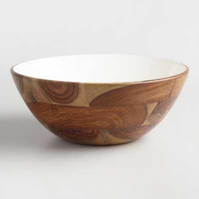Large White Enamel Wood Bowl - World Market/Cost Plus