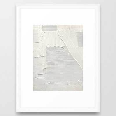 """Alyssa Hamilton, Relief [2]: an abstract, textured piece in white, 20"""" x 26"""", Scoop white frame - Society6"""