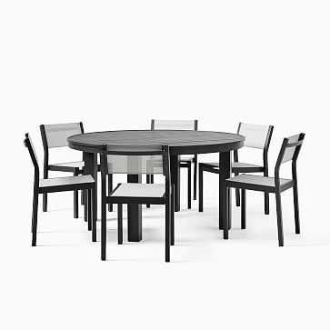 "Portside Aluminum 64"" Outdoor Round Dining Table, Antique Bronze - West Elm"