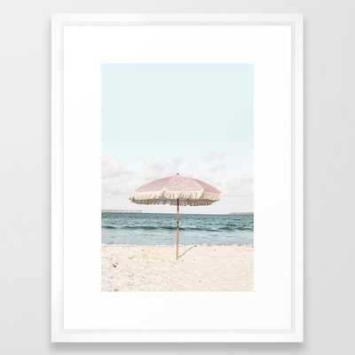 Pink Umbrella Framed Art Print - Society6