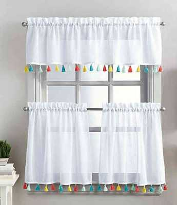 Coastal Living® Boho Tassel 24-Inch Window Curtain Tier Pair - Bed Bath & Beyond