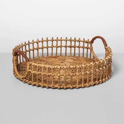 "15"" x 4.5"" Round Rattan Tray with Leather Handles Natural - Opalhouse™ - Target"