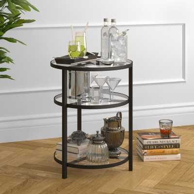 Goncalves Glass Top 3 Legs End Table with Storage - Wayfair